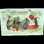 1912 Embossed Thanksgiving Postcard Children With Turkeys Pulling Wagon Nash
