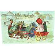 1912 Embossed Thanksgiving Postcard Children With Turkeys Pulling Wagon Nash