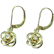 Pair Of French Clip 14K Gold & Diamond Knot Earrings
