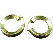 Pair of Wide Hoop 14k Gold Earrings