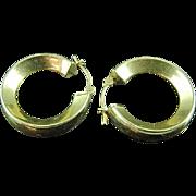 Pair of Wide Hoop 14k Gold Earrings
