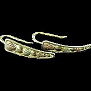 Pair Of 10K Black Hills Gold Leaf & Dot Earrings