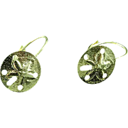 Pair Of French Clip 14K Gold Sand Dollar Earrings