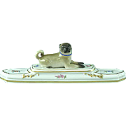Antique German Meissen Pug Dog Paperweight With Floral Base Mint Condition