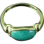 Vintage 14K Yellow Gold Cabochon Turquoise Ring