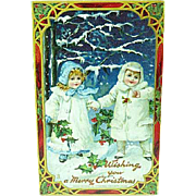 1910 Embossed Christmas Postcard Children In White Fur Coats Tuck 512
