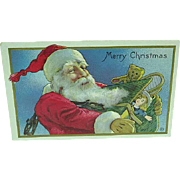1909 Embossed Christmas Santa Postcard Santa with Sack Of Toys Stecher 540 E