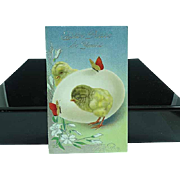 1912 Embossed Easter Postcard Chicks With Butterflies