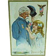 1909 Embossed Decoration Day Postcard Old Civil War Soldier & Little Girl