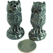 Victorian Silver Plate Figural Owl Salt & Pepper Shakers With Glass Eyes