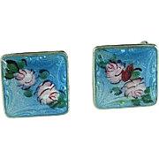 Vintage Pair Of Sterling Silver & Enamel Earrings With Roses