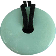 "Vintage 1 5/8"" Apple Green Jade Disk Pendant"