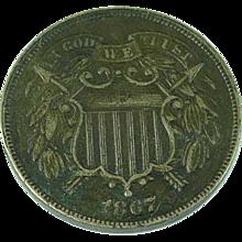 1867 2 Cent Coin Civil War Coin