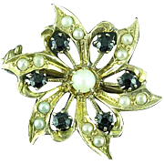Vintage 10k Gold Flower Pin Brooch With Seed Pearls & Faceted Onyx Stones