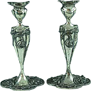"Antique Pair Of Silverplate Art Nouveau 8"" Candlesticks Meriden CT"