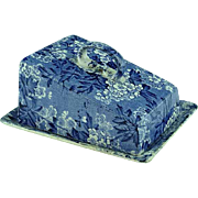 Staffordshire Blue Transfer Covered Butter Dish May Blossom