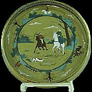 Rare Buffalo Deldare Pottery Breaking Cover Wine Coaster Ca 1909