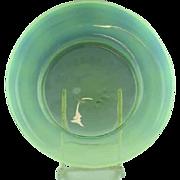 "9"" Opalescent Vaseline Art Glass Bowl"