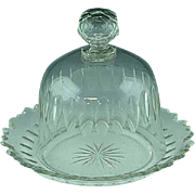 Antique Dome Topped Cut Glass Cheese Dish