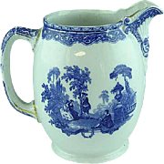 Large Flow Blue Pitcher Watteau Pattern By Doulton Ca 1890