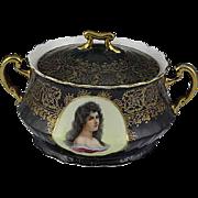 Antique Austrian Art Nouveau Power Jar With Portrait Of Victorian Lady