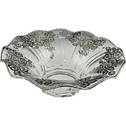 "11"" Elegant Glass Sterling Silver Overlay Center Bowl"