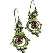 Victorian Gold Filled Filigree Earrings With Red Stones & Pearls