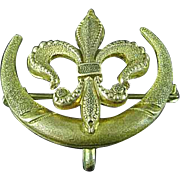 Antique Victorian Gold Filled Fleur De Lis With Sliver Moon Watch Pin