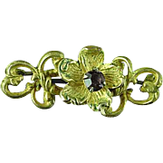Antique Victorian Gold Filled Floral Brooch Pin With Light Amethyst Center Stone