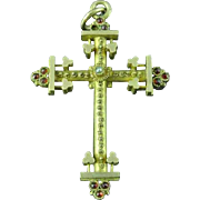 Antique Victorian Gold Filled Cross Pendant With Cabochon Rubies & Pearl