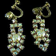 Vintage Champagne Colored Rhinestone Chandelier Earrings