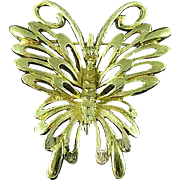 Vintage Gold Tone Monet Butterfly In Flight Brooch Pin