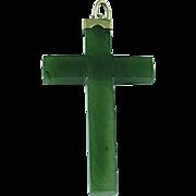 "Vintage 2"" Spinach Green Jade & 14k Gold Cross"