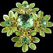 Vintage Green Austrian Crystal & Enamel Painted Brooch Pin