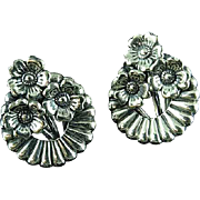 Pair Of Art Nouveau Danecraft Sterling Silver Floral Earrings