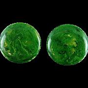 Pair Of Green Marbled Bakelite Clip On Earrings