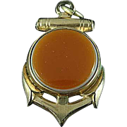Antique Gold Filled Carnelian & Black Onyx Anchor Watch Fob