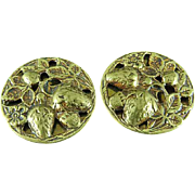 "Pair Of 1 1/8"" Antique Brass Buttons Embossed With Strawberries"
