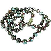 Vintage Chinese Hand Knotted Cranberry Floral Cloisonne Beaded Necklace 25.5 Inches