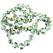 Vintage Chinese Hand Knotted White & Butterflys Cloisonne Beaded Necklace 31 Inches