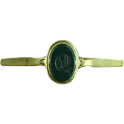 Victorian 14k Gold & Bloodstone Brooch Pin With R