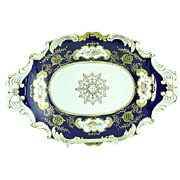 Antique Gold Gilded Coalport Serving Dish With Cobalt Blue Background & Flowers