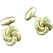 Antique Gold Filled Bright Cut Knot Cuff Links