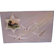 1909 Embossed Easter Postcard White Doves In Flight Davidson Bros. Printed In Germany
