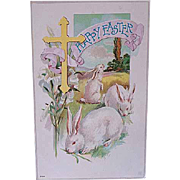 1909 Easter Postcard With WHite Bunny Rabbits