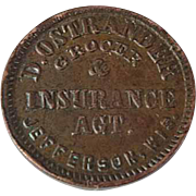 1860's Hard Times Civil War Token Grocer Insurance Agent Jefferson Wis. Extra Fine Condition
