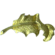 Vintage Mamselle Signed Gold Tone Oak Leaf Brooch Pin