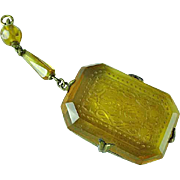 Antique Victorian Lemon Amber Intaglio Cut Glass Pendant