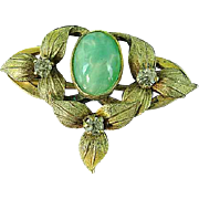 Antique Victorian Brooch Pin With Clear and Green Stones