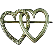 Vintage Sterling Silver Twin Hearts Brooch Pin